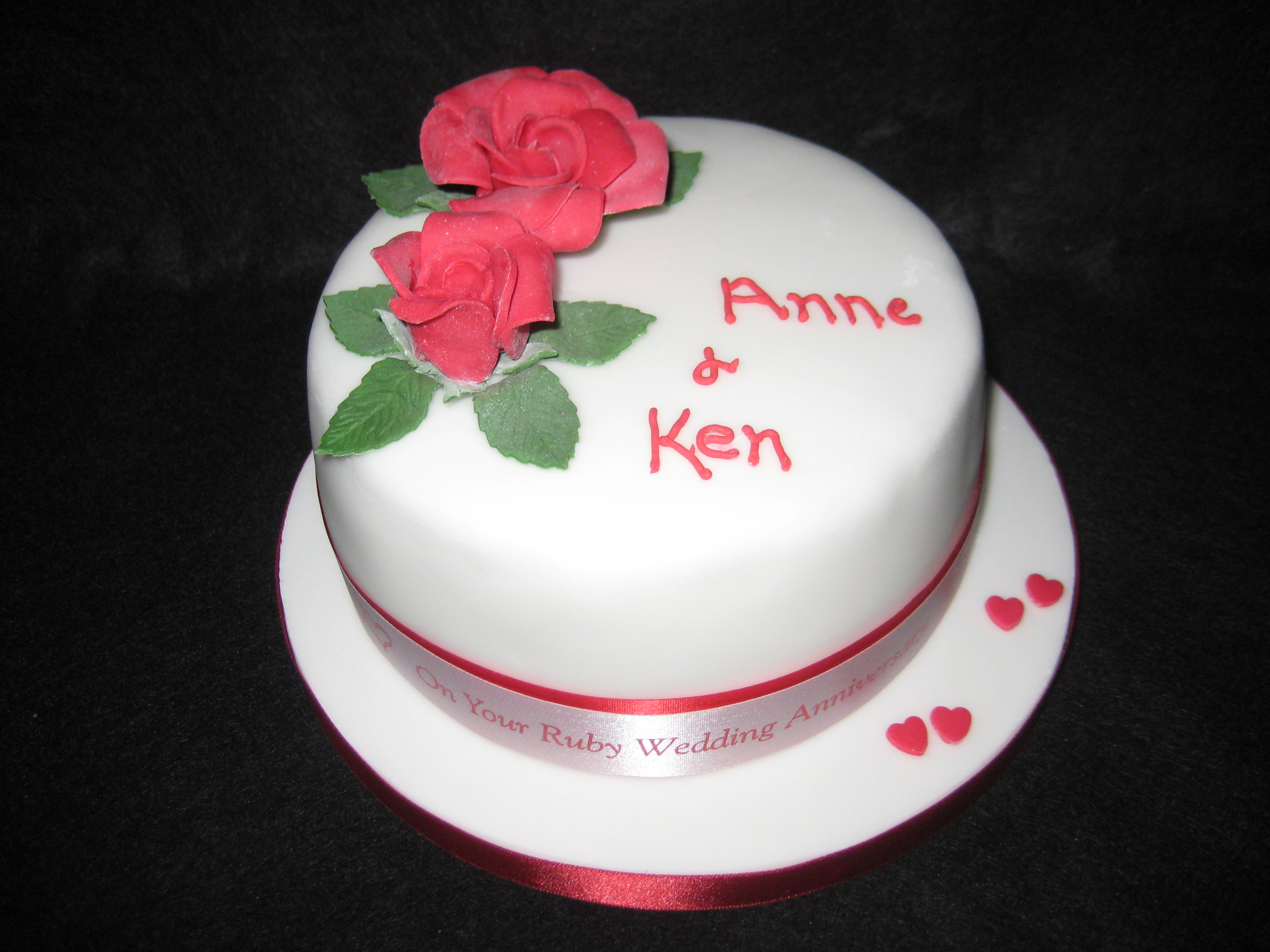 Ruby Wedding Anniversary Cake | Wendy Cakes