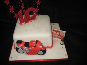 "6"" Sponge Motorbike 40th Birthday Cake"