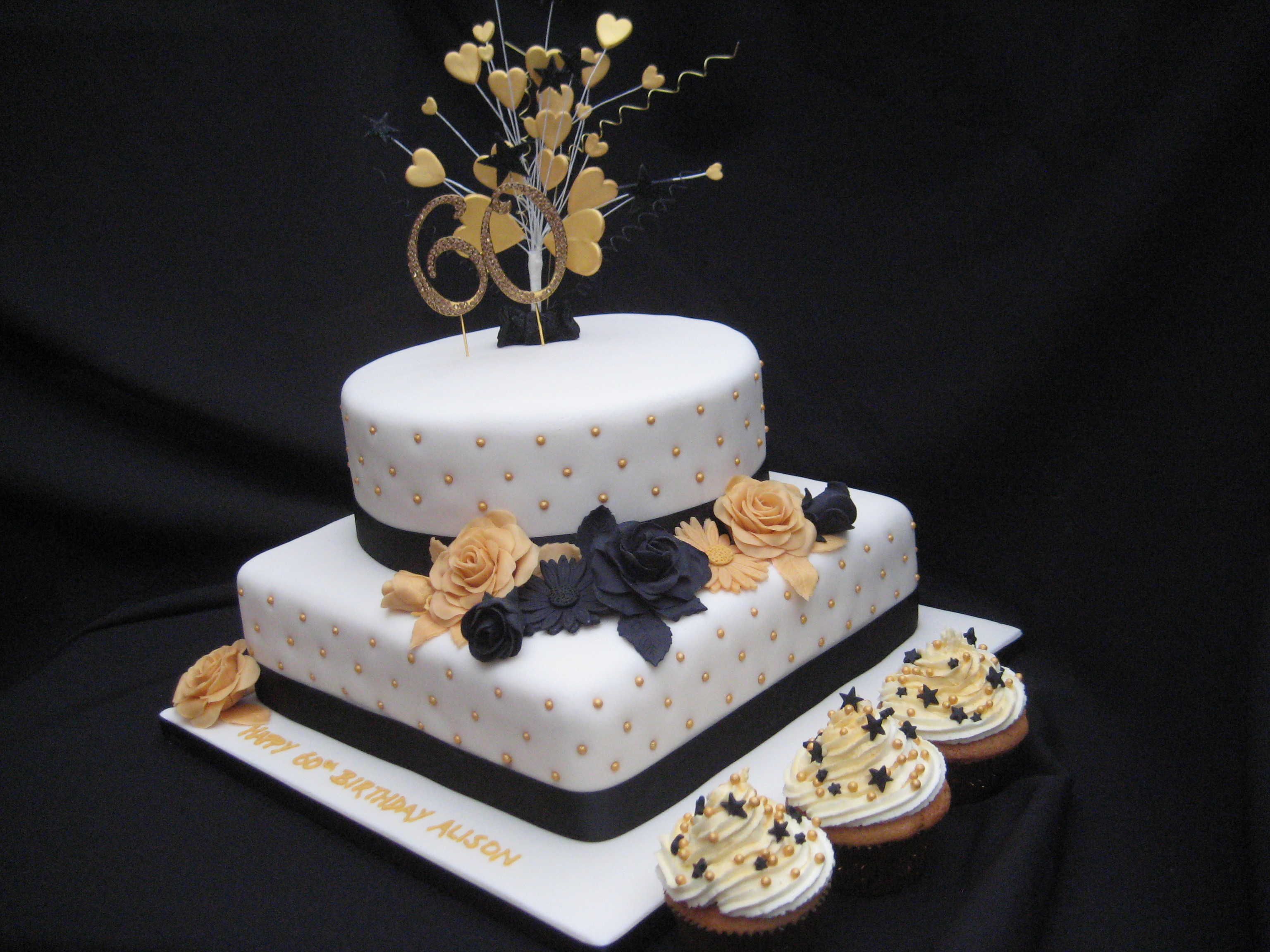 Black And Gold Roses Gerberra Birthday Cake Wendy Cakes