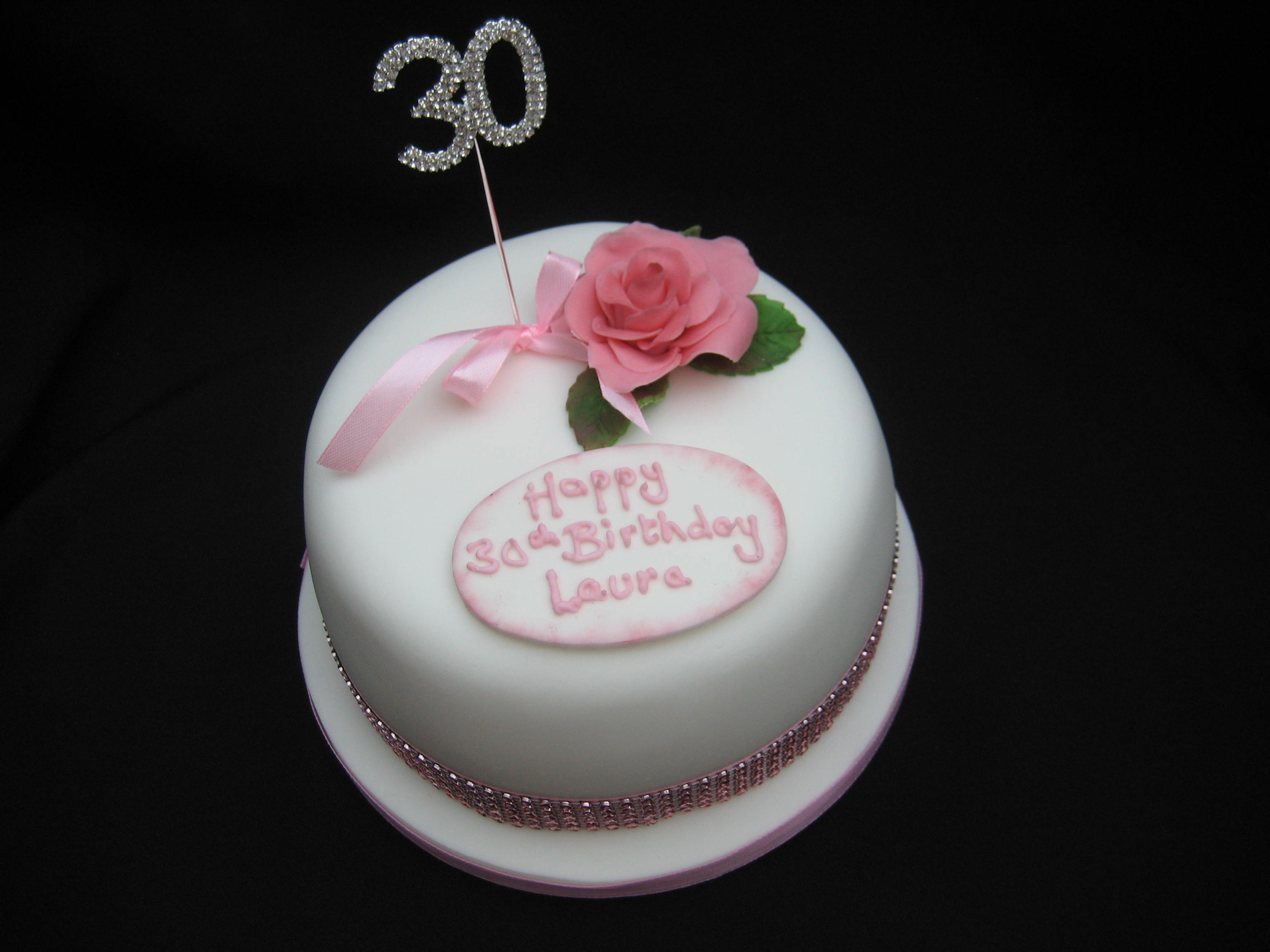 30th Rose And Bling Birthday Cake Wendy Cakes